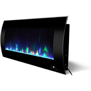 Curved Wall-Mounted Electric Fireplace by Orren Ellis