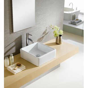 Shop For Modern Ceramic Square Vessel Bathroom Sink ByFine Fixtures