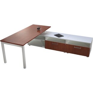 Trig L-Shape Writing Desk with Low Storage by Trendway