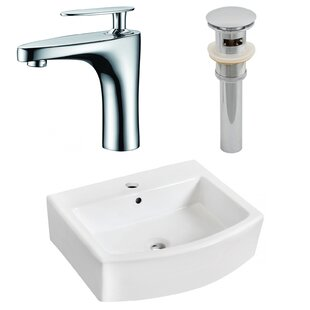 Look for Ceramic Rectangular Bathroom Sink with Faucet and Overflow ByAmerican Imaginations