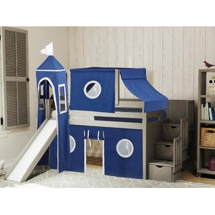 Johannes Castle Twin Low Loft Bed with 3 Drawers Slide and Tent by Zoomie Kids