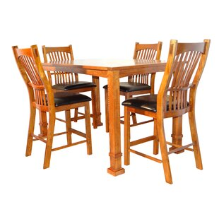 Lagunitas 5 Piece Counter Height Solid Wood Dining Set DarHome Co