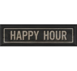 Happy Hour Sign V Framed Textual Art by The Artwork Factory