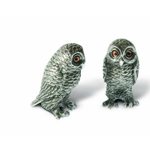Harvest Pewter Metal Owl Salt and Pepper Shaker Set with Hand-Painted Eyes
