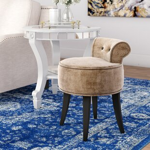 Buy clear Hyun Vanity Stool with Wood Frame ByWilla Arlo Interiors