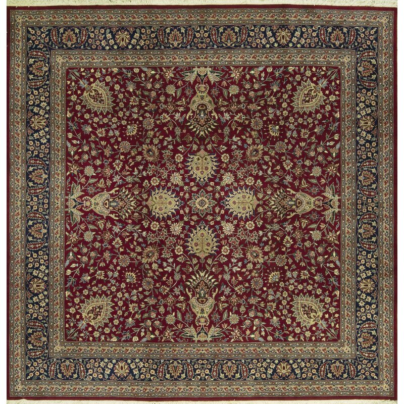 Bokara Rug Co., Inc. One-of-a-Kind Jahan Quality Hand-Knotted Square 10 Wool Beige/Red Area Rug