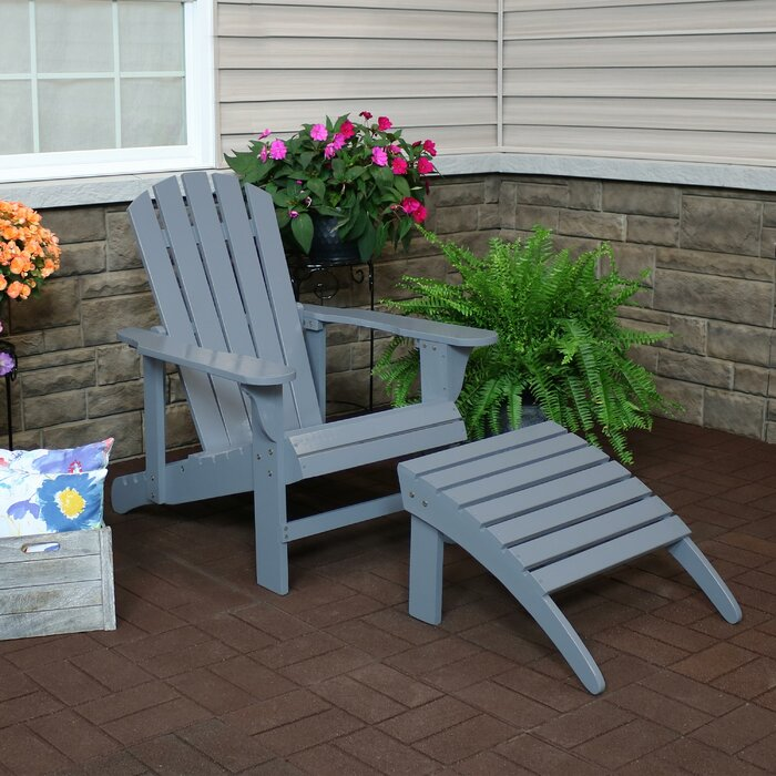 Terrific Sherrill Classic Solid Wood Adirondack Chair With Ottoman Gamerscity Chair Design For Home Gamerscityorg