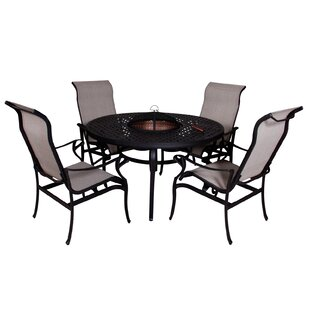 Babara 5 Piece Dining Set with Firepit
