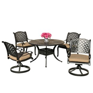 Beadle 5 Piece Sunbrella Dining Set with Sunbrella Cushions by Darby Home Co