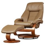 Flathead Lake Leather Manual Swivel Recliner with Ottoman by Red Barrel Studio®