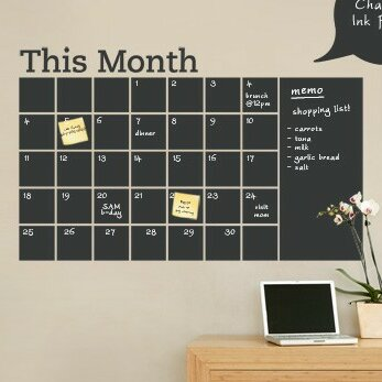 simpleshapes calendar with memo chalkboard wall decal | wayfair.ca