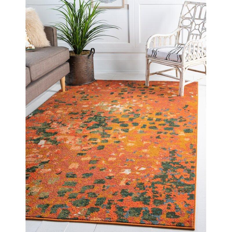 Mistana Nyla Abstract Orange Area Rug Reviews Wayfair