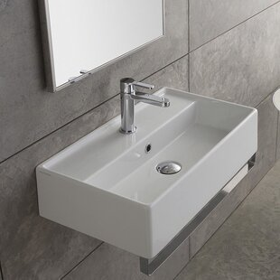 Find Teorema Ceramic 32 Wall Mount Bathroom Sink with Overflow ByScarabeo by Nameeks