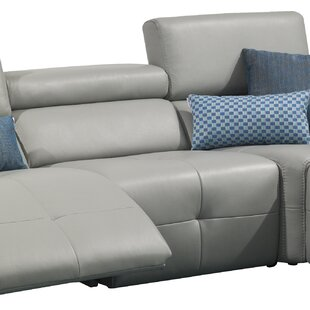 Chase Leather Reclining Sectional by Orren Ellis Best
