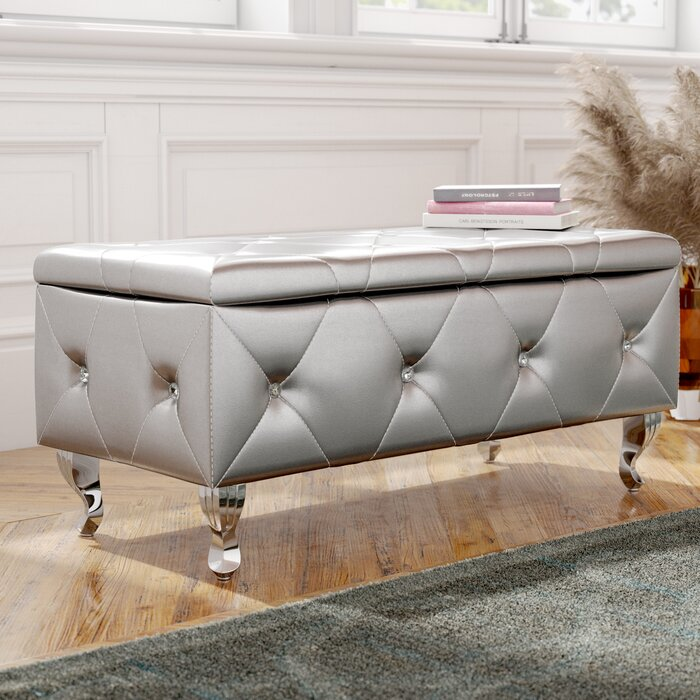 Victoria Faux Leather Flip Top Storage Bench