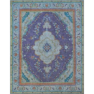 Cantle Vintage Distressed Overdyed Hand Knotted Wool Purple Area Rug