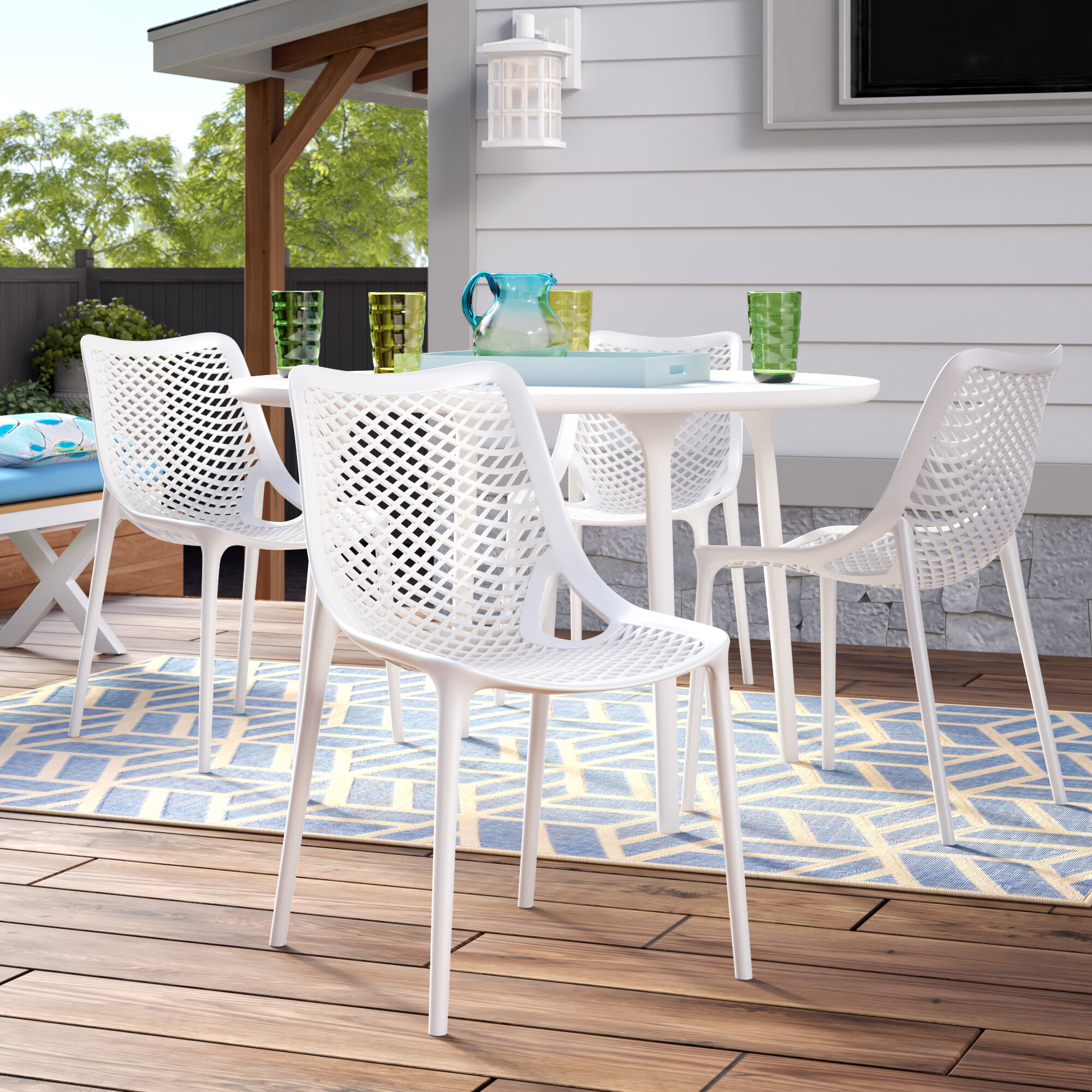 Mercury Row Deines Modern Stacking Patio Dining Chair Wayfair