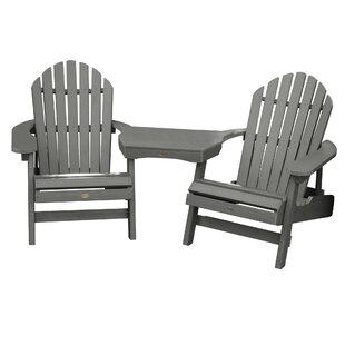 Longshore Tides Camacho Plastic Folding Adirondack Chair with Table (Set of 3)