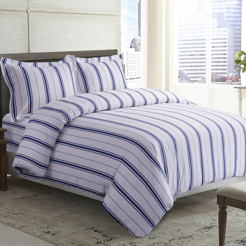 Darby Home Co Topsfield Stripe Printed Deep Pocket Flannel Sheet Set Reviews Wayfair