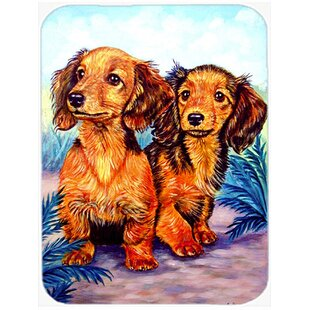 Two Dachshund Glass Cutting Board