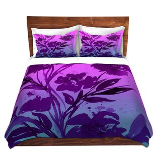 DiaNoche Designs Pocketful Posies Pink Purple Duvet Cover Set