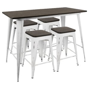 Natasha Industrial 5 Piece Counter Height Dining Set by Gracie Oaks