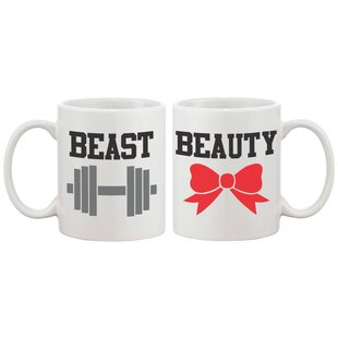 2 Piece Beauty and Beast Couple Matching 11 oz. Mug Set
