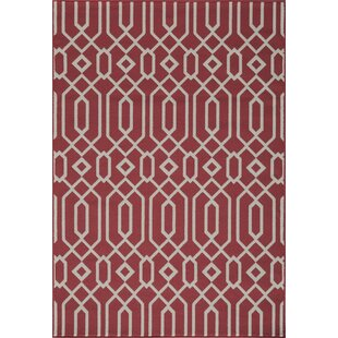 Halliday Traditional Red Geometric Indoor/Outdoor Area Rug