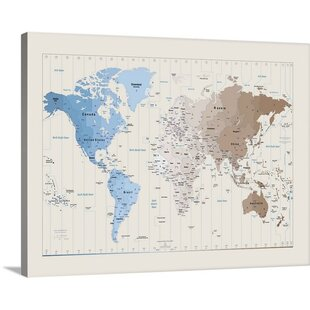 Time zones world map wayfair world map by michael tompsett graphic art print gumiabroncs Images