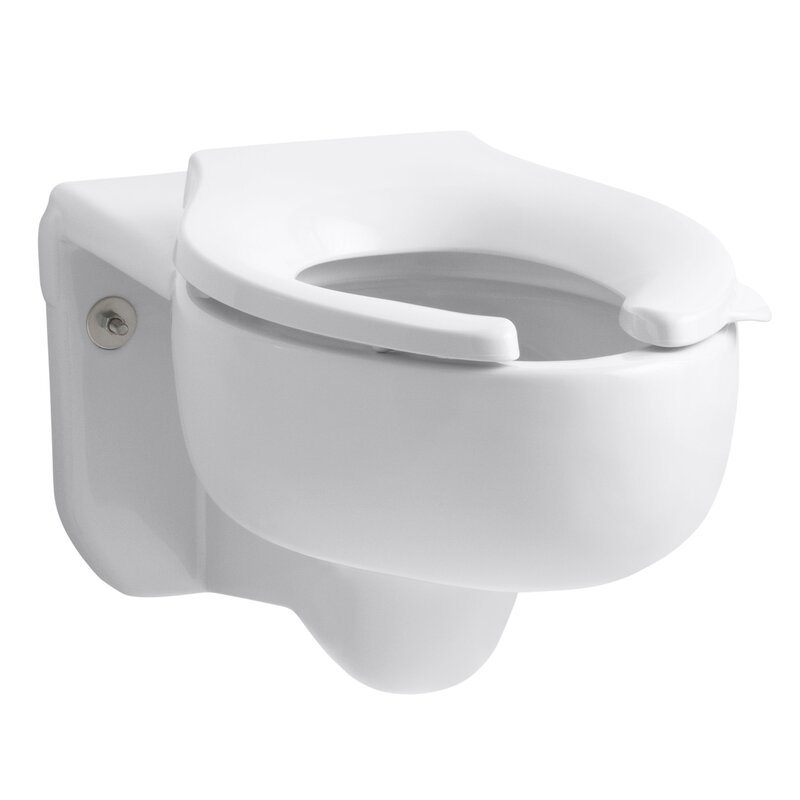 Kohler Stratton Wall Mounted 3 5 Gpf Water Guard Flushometer Valve Elongated Blow Out Toilet Bowl With Top Inlet Requires Seat Wayfair