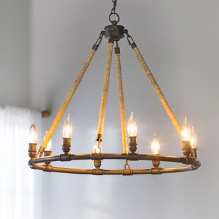 Beachcrest Home Mexico Beach 8-Light Wagon Wheel Chandelier
