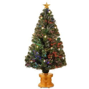 fcaee627b5d9 4 Fiber Optics Green Firework Artificial Christmas Tree with Multicolored  Lights