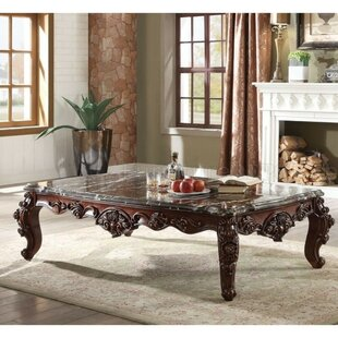 Alois Traditional Rectangular Wood and Marble Coffee Table