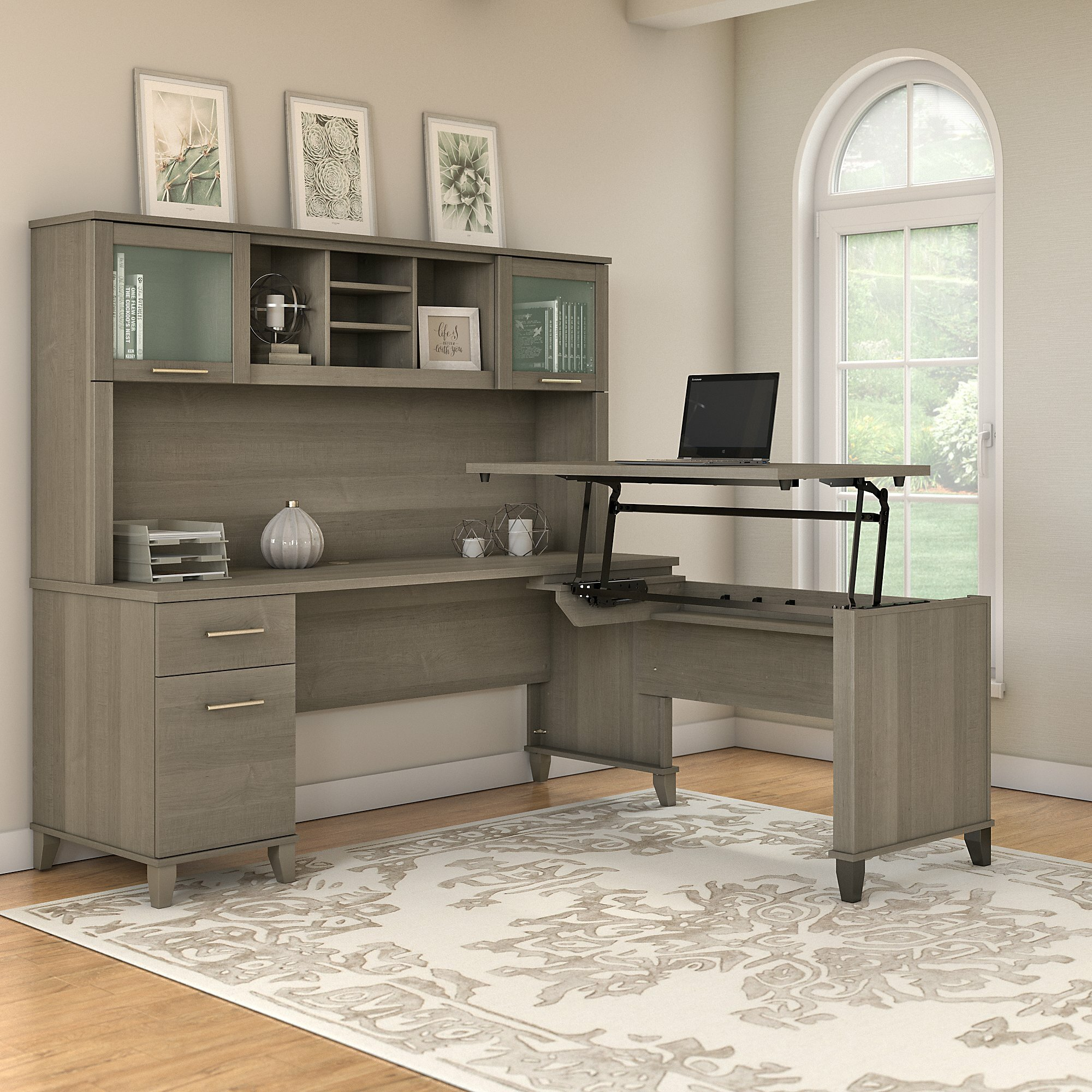Goin Height Adjule L Shape Computer Desk With Hutch