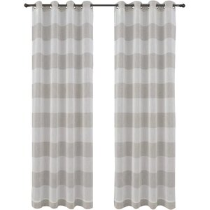 Nassau Striped Sheer Grommet Curtain Panels (Set of 2)