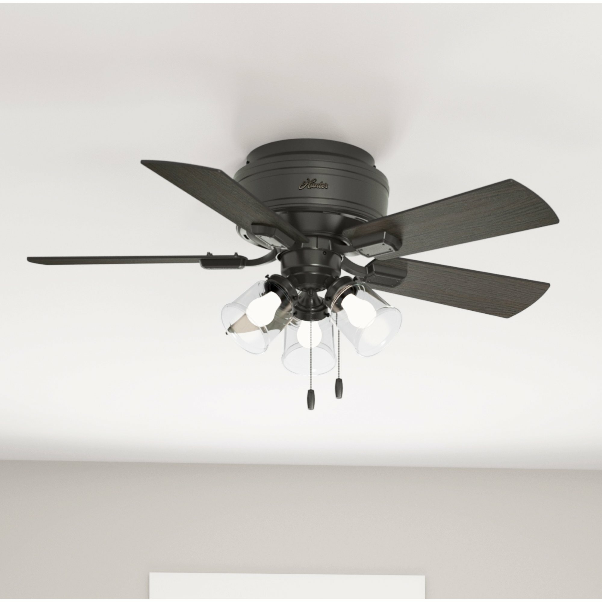 Hunter Fan 42 Crestfield 5 Blade Flush Mount Ceiling Fan With Pull Chain And Light Kit Included Reviews Wayfair
