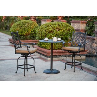 Darby Home Co Waconia 3 Piece Bar Height Dining Set with Cushions