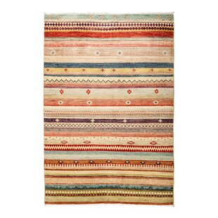 Savings One-of-a-Kind Lori Hand-Knotted Black/Orange/Green Area Rug By Darya Rugs