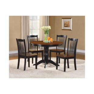 Seamon Transitional Round Dinette 5 Piece Solid Wood Dining Set