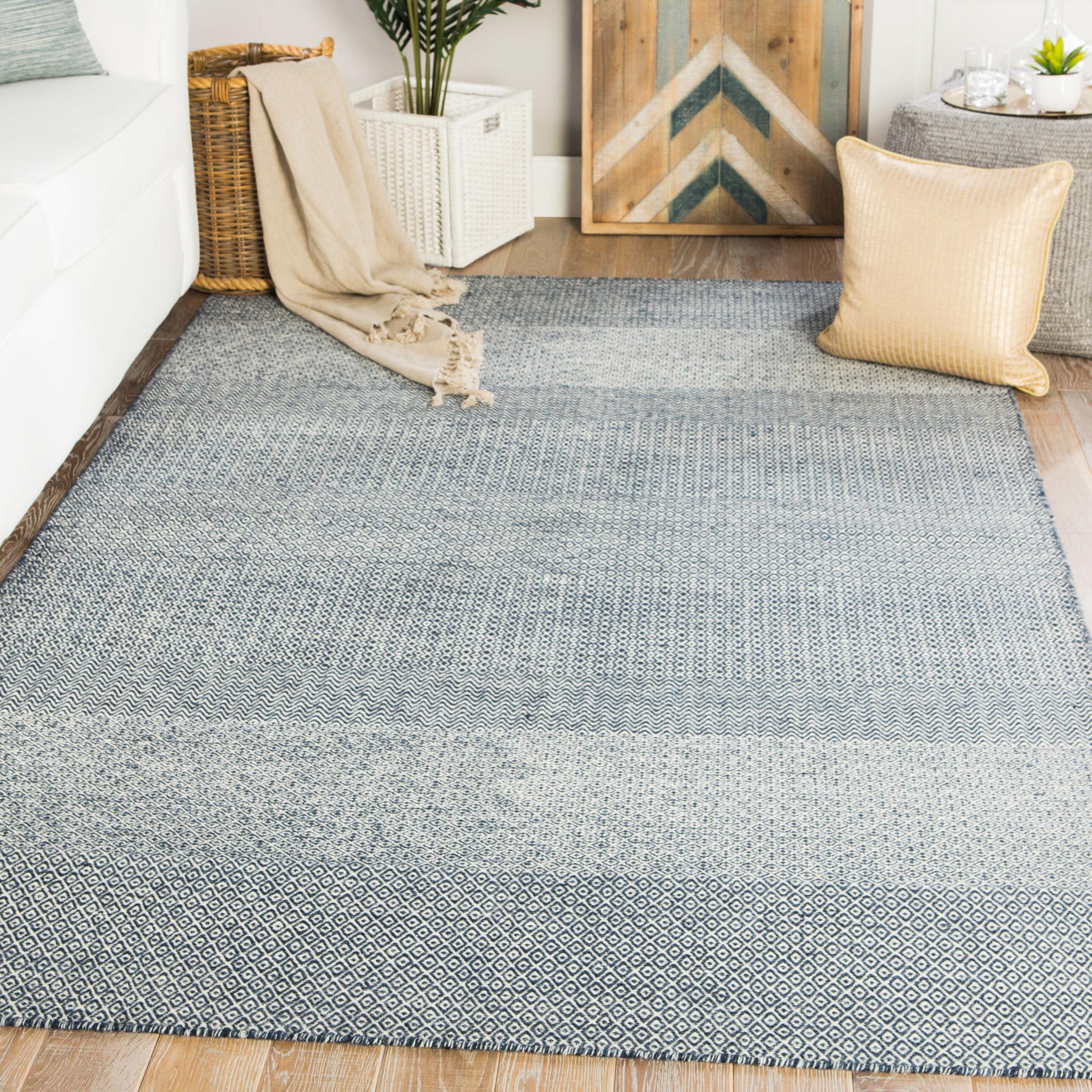 Union Rustic Prescott Geometric Handwoven Wool Dark Blue Area Rug Reviews Wayfair