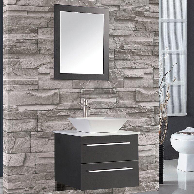 Mercury Row Bosarge 24 Single Sink Wall Mounted Bathroom Vanity Set