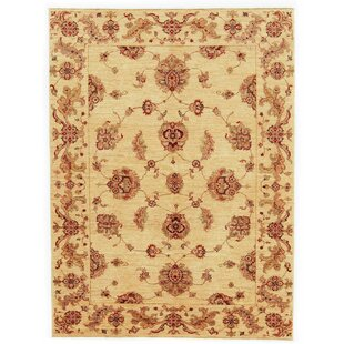 Claxton Hand Knotted Wool Beige Rug by Rosalind Wheeler