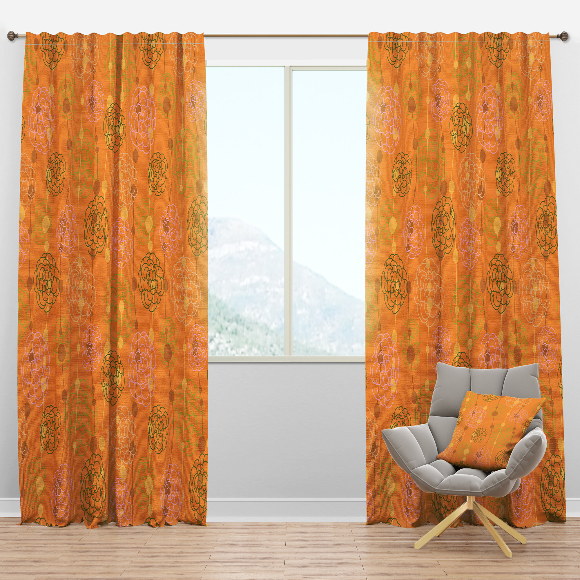 Designart Mid Century Handdrawn Flowers Iii Geometric Semi Sheer Thermal Rod Pocket Single Curtain Panel Wayfair