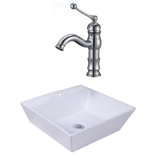 Price Check Ceramic Square Vessel Bathroom Sink with Faucet and Overflow ByAmerican Imaginations