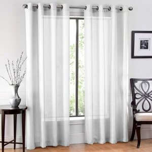 Window Sheet Solid Sheer Grommet Curtain Panels (Set of 2)