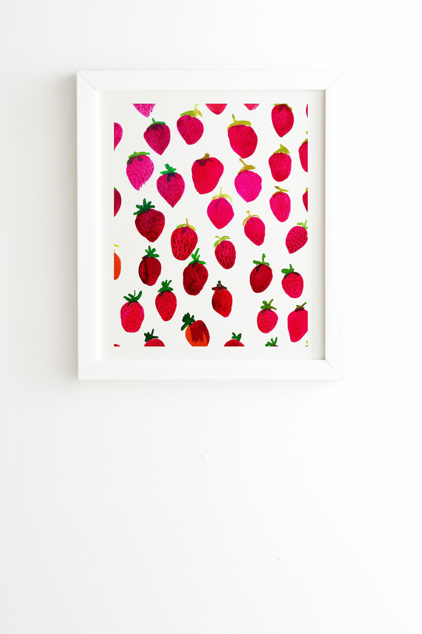 East Urban Home Amy Sia Strawberry Fruit Framed Graphic Art Wayfair
