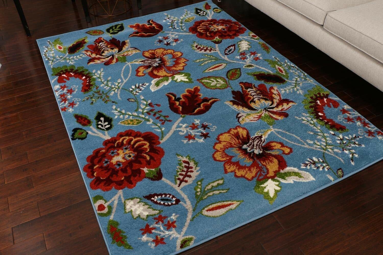 Winston Porter Myrie Floral Blue Area Rug Reviews Wayfair