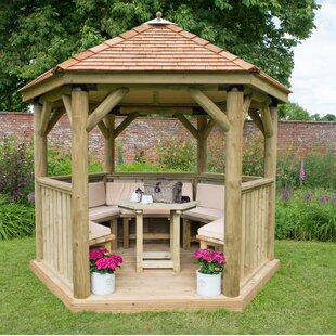 Furnished 3.3m X 2.9m Wooden Gazebo With Cedar Roof By Sol 72 Outdoor