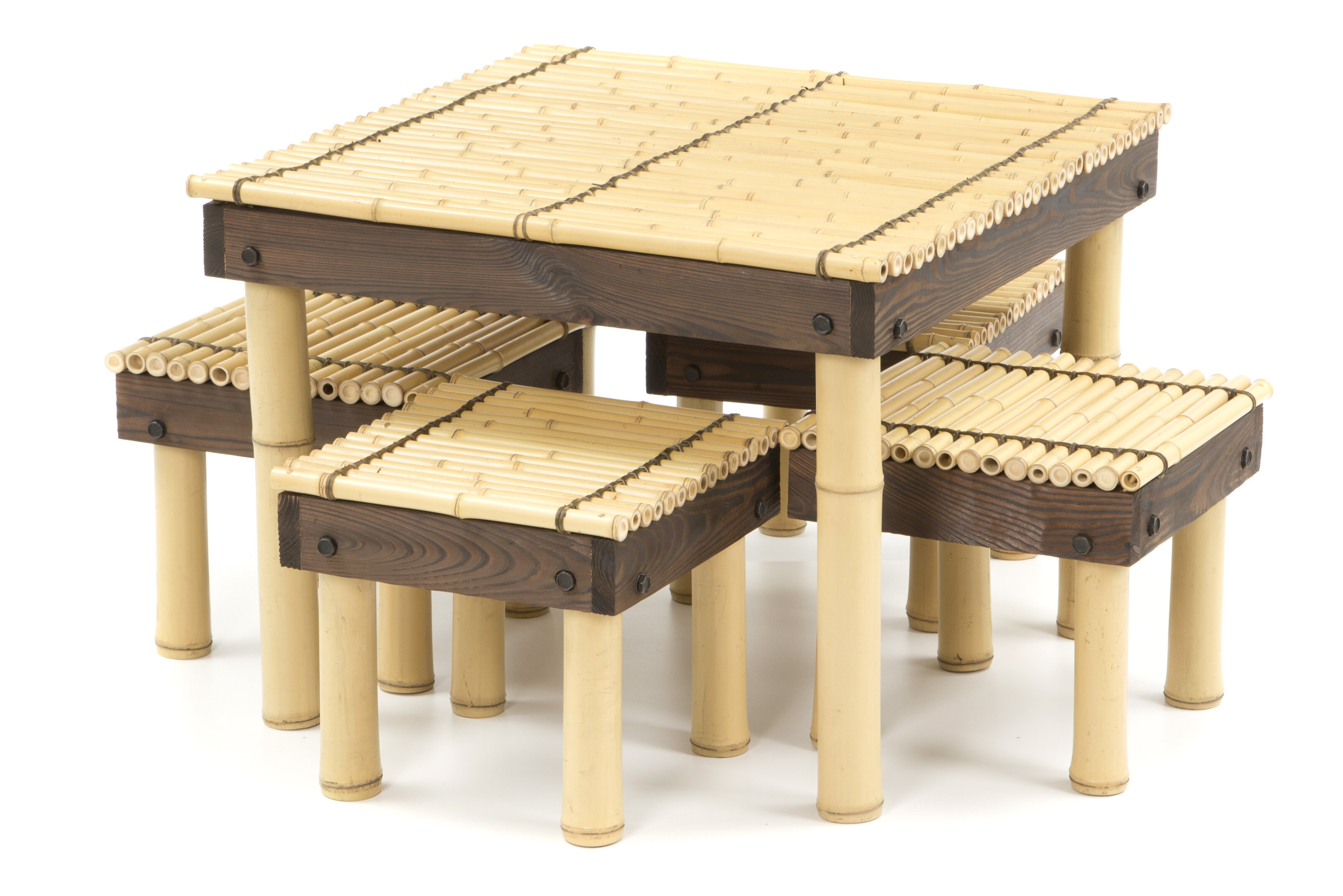 Merveilleux Gina Bamboo Coffee Table With Four Stools