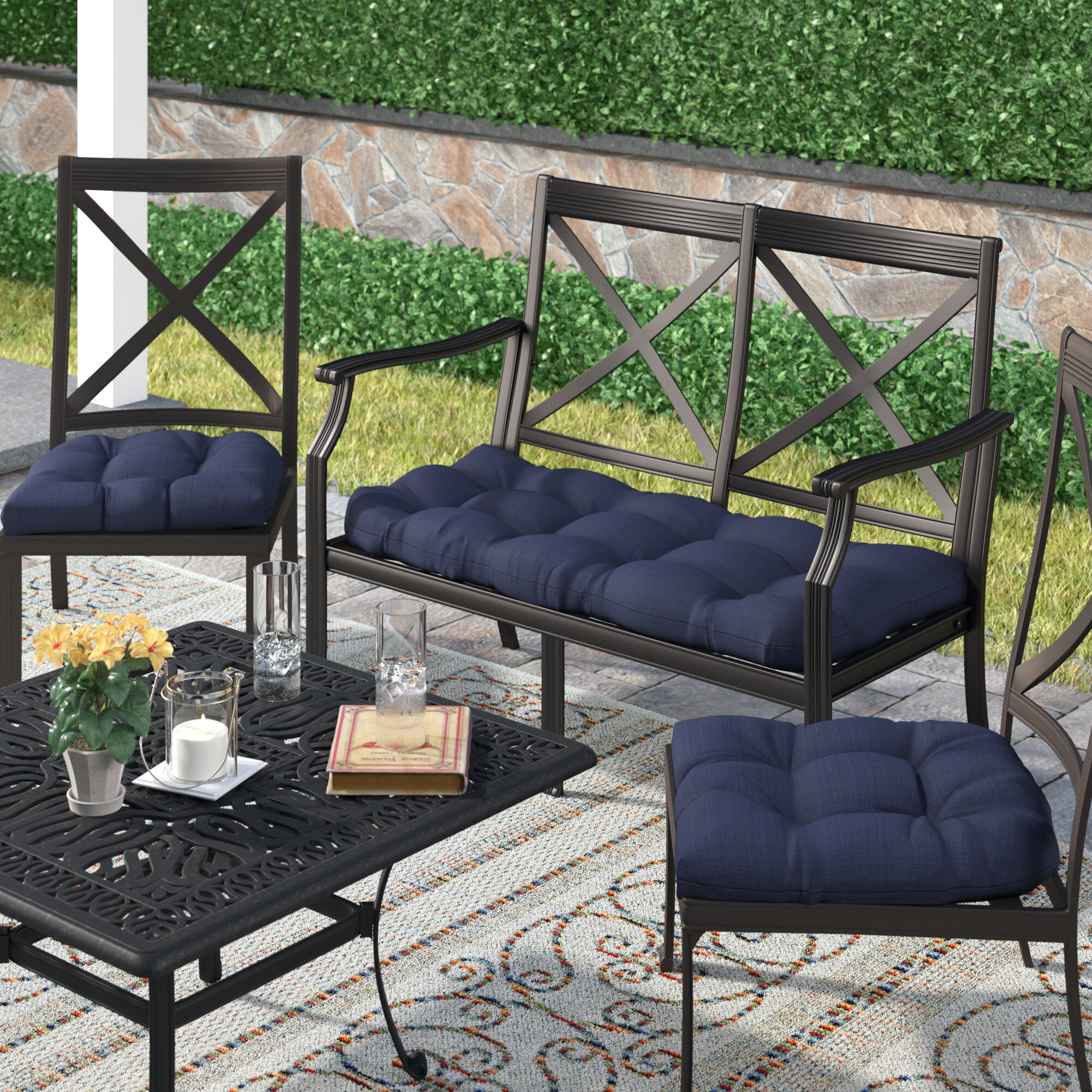 Darby Home Co 3 Piece Indoor Outdoor Bench And Dining Chair Cushion Set Reviews Wayfair